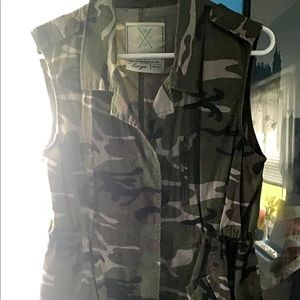 Angel Kiss Camouflage Cargo Long Vest
